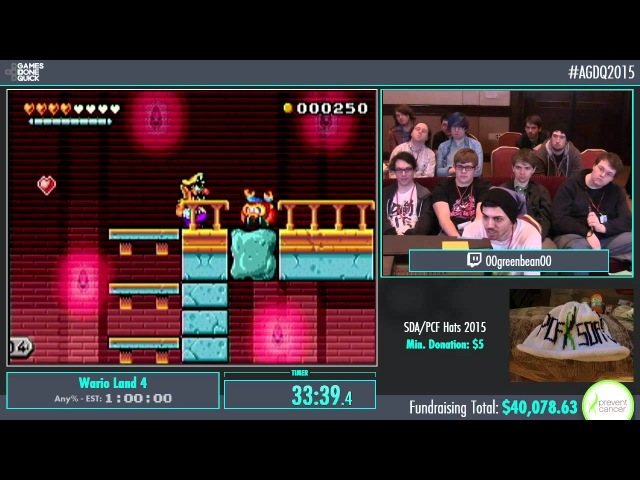 AGDQ 2015 Wario Land 4 Speed Run in 0:49:54 by 00greenbean00 AGDQ2015 60fps