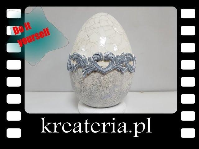 Jajo wielkanocne Crackle i StoneArt Powertex - efekt porcelany i kamienia KreaCraftShow46