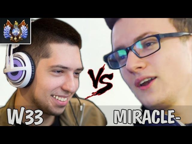 Miracle Sf первый 9k ММР против ТОП 1 EU MMR [w33 Storm]