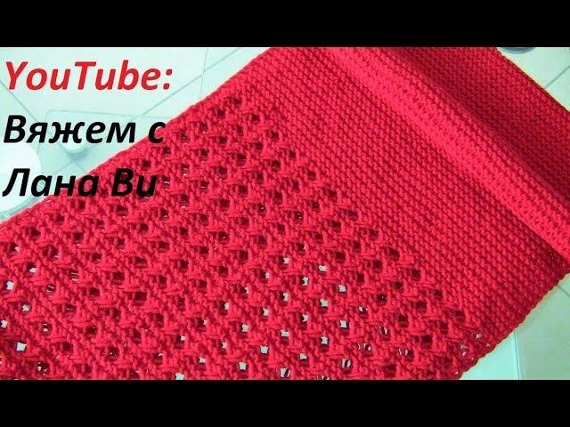 Вяжем шарф-снуд спицами, 50/50 - АЖУРНЫЙ узор и ПЛАТОЧНАЯ вязка. Шарф-снуд в 2 оборота