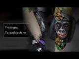 Free hand tattoo machine, Realistic tattoo timelapse, tattoo macaco, monkey tattoo, colorido