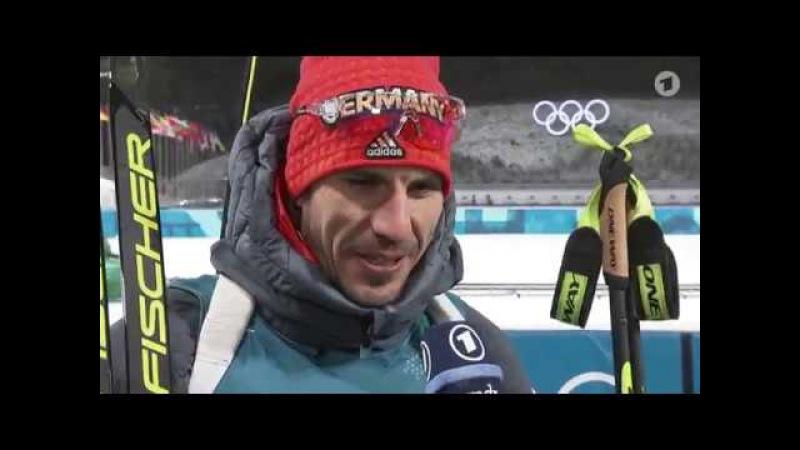 OG-2018. Arnd Peiffer after his victory in sprint