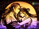 Алые сердца Ван со и Хе Су Happy Chuseok песочная картина «Праздник любви середины осени»