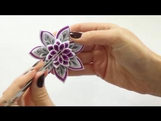 НОВОГОДНЯЯ СНЕЖИНКА КАНЗАШИ, МК - DIY Kanzashi Christmas Snowflake