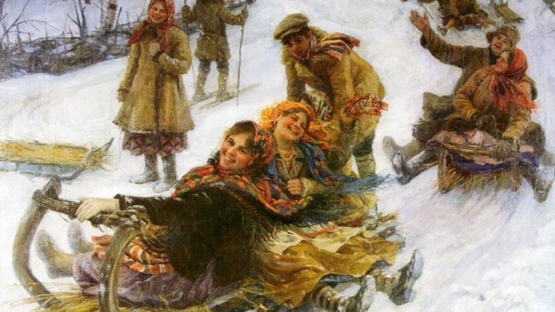Нонна Мордюкова и другие артисты - Ах мамочка, на саночках.
