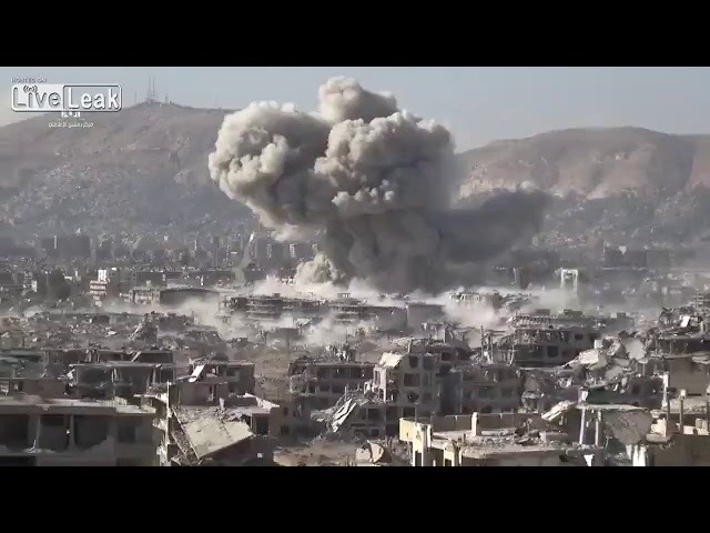 Regime forces use UR-77 mine clearence charges in an attempt to break through in Jobar