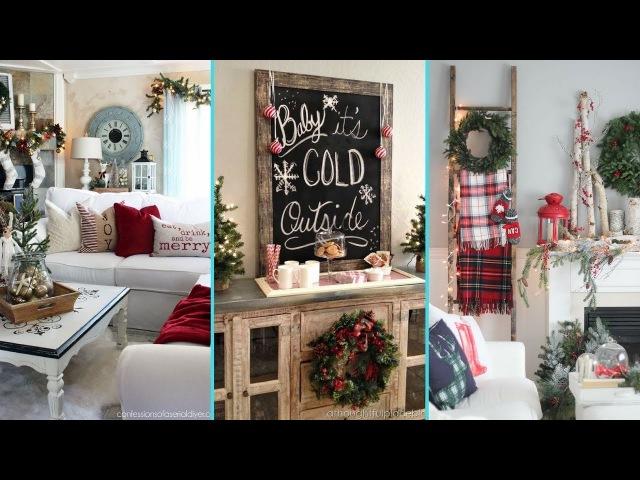❤ DIY Rustic Shabby chic style Christmas Living Room decor Ideas❤ | Xmas Home decor |Flamingo Mango|