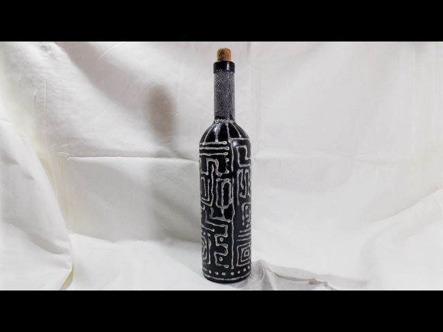 Декор бутылки манной крупой Это очень просто