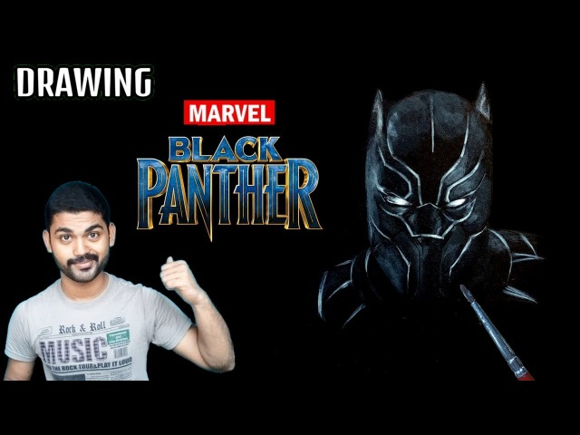 Drawing Black Panther on Black paper - Under 2 Minutes