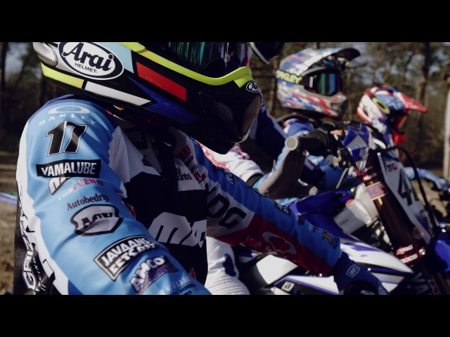 Romain Febvre rides with Grizzly Yamaha Junior EMX Team YZ65 riders