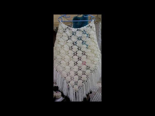 ÇİÇEKLİ İNCİLİ MUHTEŞEM ŞAL MODELİ YAPILIŞI The creation of the beautiful floral pearl shawl model