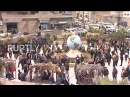Сирия демо-версия просирийского правительства в Свободной тюрьме Африна после прибытия ополченцев
