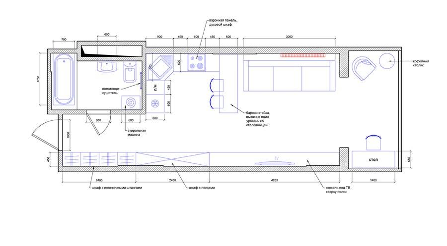 Проект прямоугольной студии 40 м с присоединенной лоджией.