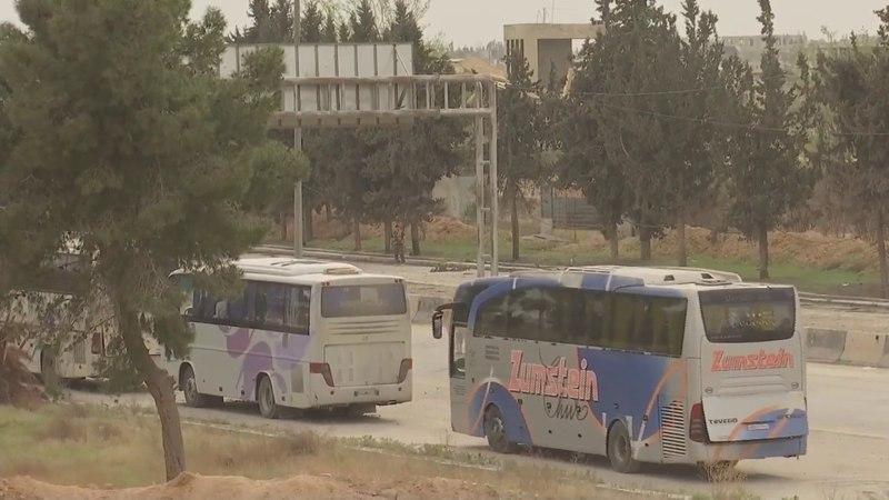 23 марта в результате договоренностей российского Центра по примирению враждующих сторон с группировкой Ахрар аш Шам из н п ХАРАСТА было выведено 3 084 боевика и члена их семей которые на 59 автобусах перевозятся в Идлиб