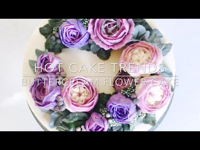 HOT CAKE TRENDS Buttercream English Roses Flower Wreath cake How to make by Olga Zaytseva