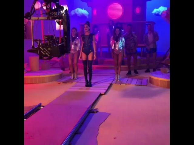 Tini on the set of the Te Quiero Mas Music Video shoot