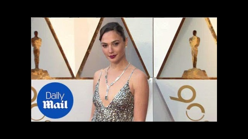 Silver siren! Gal Gadot shimmers in bedazzled gown at Oscars - Daily Mail