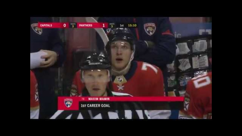 Max Mamin taps home first NHL goal for Panthers (2018)