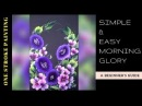 How to paint a simple morning glory flowers | Acrylic painting | one stroke decorative art