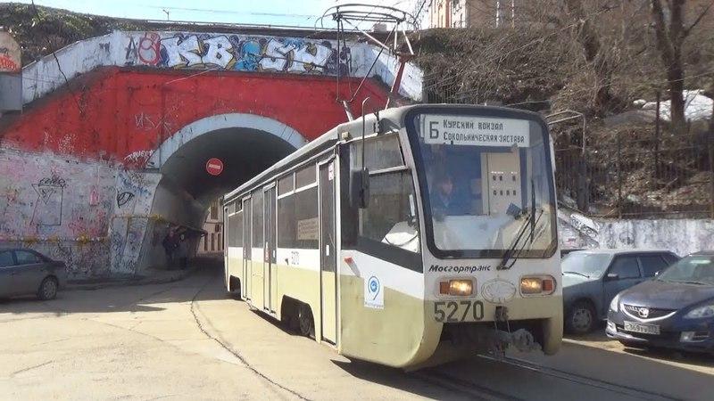 Трамвай 71-619 (КТМ-19) №5270 с маршрутом Б Курский Вокзал - Сокольническая Застава