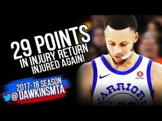 Stephen Curry 29 Pts In Injury Return 2018.3.23 GS Warriors vs Hawks - Injured AGAIN!   FreeDawkins