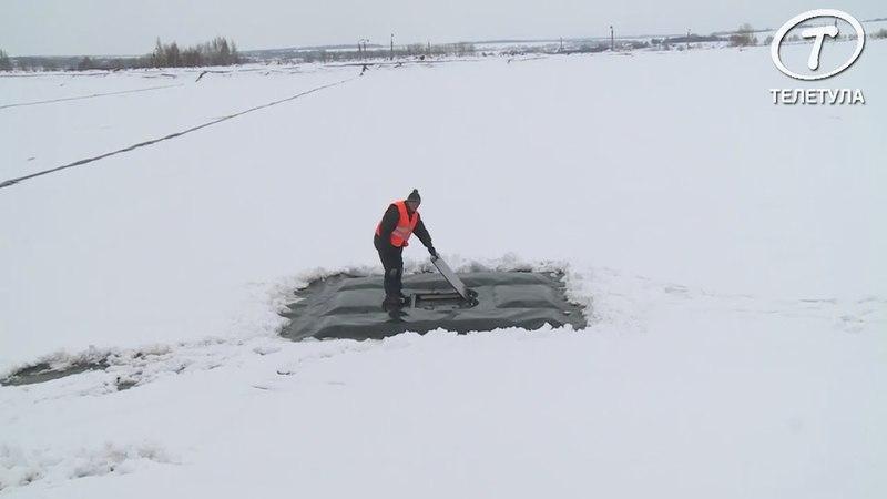 В Новомосковске на предприятии «Оргсинтез» пруд-накопитель накрыли по уникальной технологии