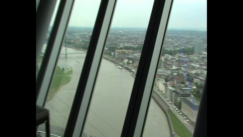 We are on the observation desk of The Rheinturm (Rhine Tower). LGBT TRAVELS © Copyright.
