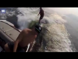 Man overboard! Guy tumbles off boat as his friend wakeboards