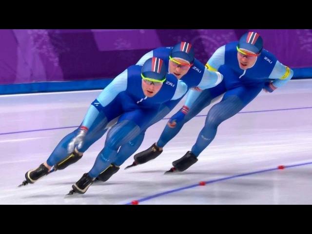 Командная гонка преследования. Мужчины. Командная гонка преследования. Женщины. Конькобежный спорт. XXIII Олимпийские зимние игры