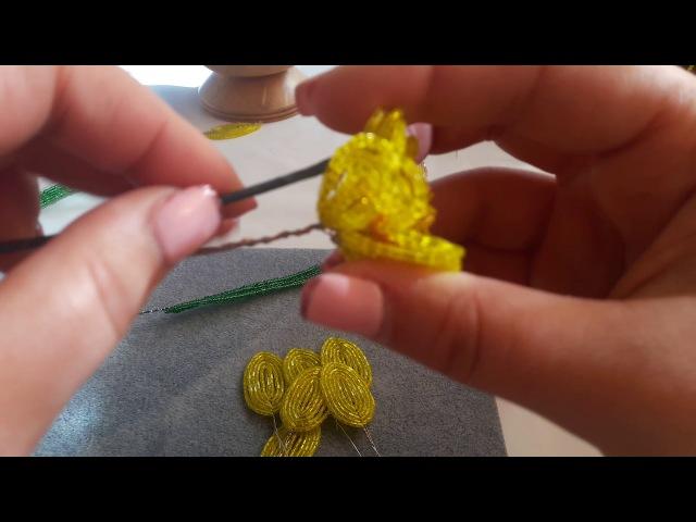 Нарциси от мъниста Част 2 ра Beaded daffodils Part 2nd Нарциссы из бисера 2