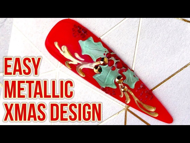 Christmas Nail Art Embossed Metallic Holly Design Quick Easy Step by Step Tutorial