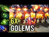 WTF 6x GOLEMS Carry Warlock Mid vs Tinker Shotgun Build by Ahjit Epic Def 7.07 Imba Dota 2