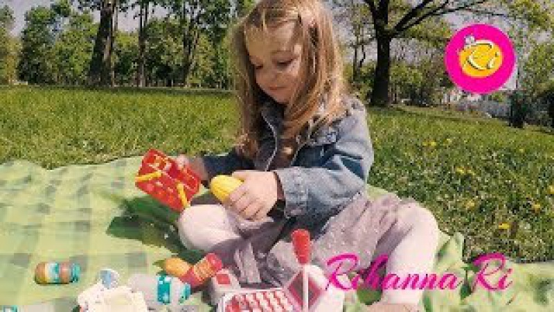 VLOG Rihanna Ri Outdoor playground Children's game Supermarket Cashier for dolls kids Real Life