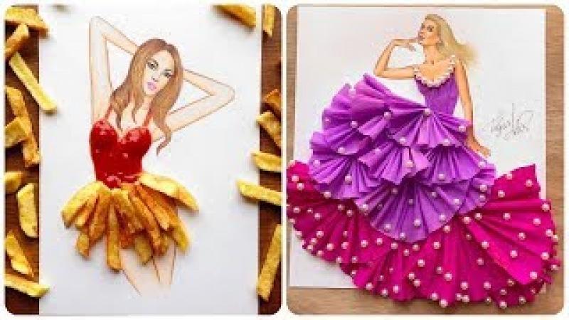 Фэшн-иллюстратор из Армении Эдгар Артис создаёт потрясающие платья из подручных средств! 💃