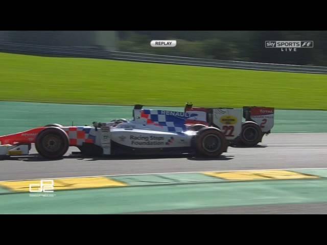 GP2 Series 2016. Race 2 Circuit de Spa Francorchamps. Sergey Sirotkin Crashes Into Artem Markelov