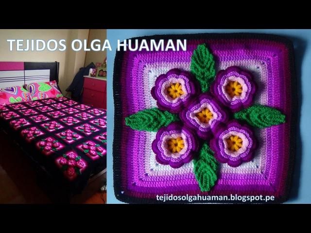 Tejidos a crochet paso a paso: muestra 5 flores para colchas video 3