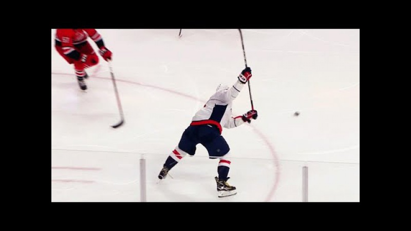 Alex Ovechkin rips power play goal by Cam Ward for 28th of season