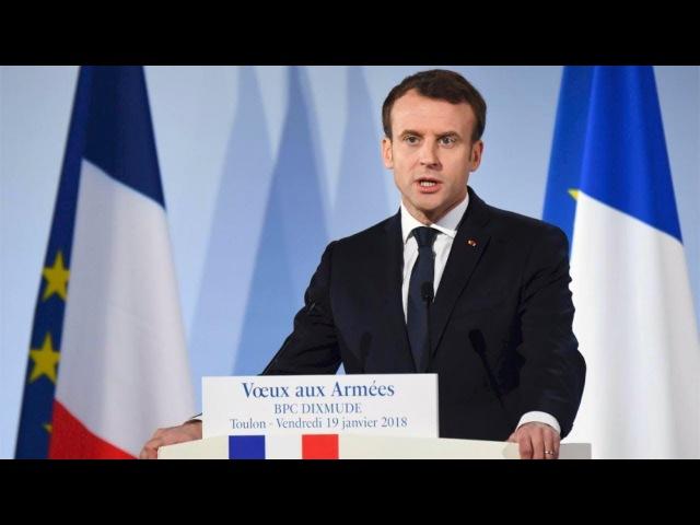 BPC Dixmude, Toulon - Vœux aux Armées d'Emmanuel Macron 19.01.2018 56 min. rire