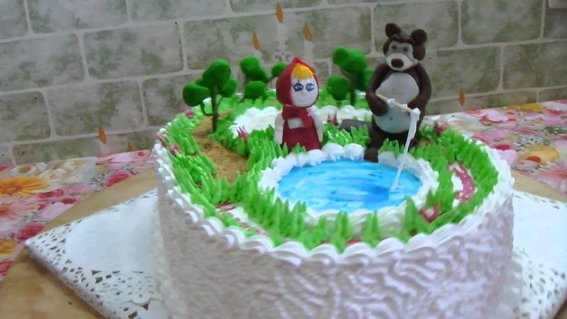 торт Маша і Ведмідь на рибалці