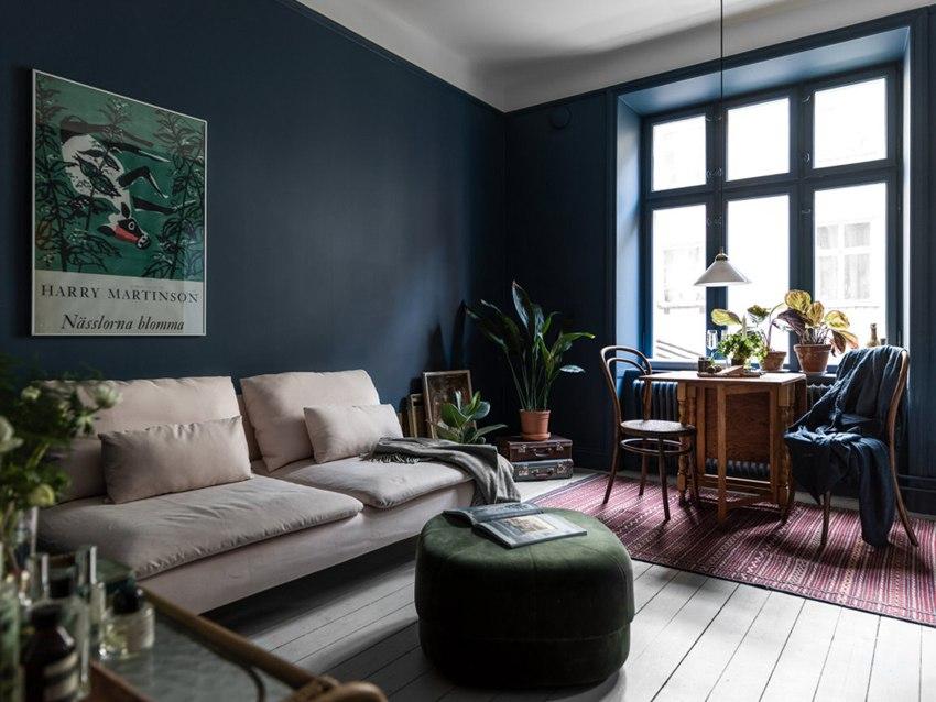 Скандинавская квартира 34 м с кухней-гостиной и небольшой спальней.