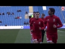 Boro warm up v Cardiff City