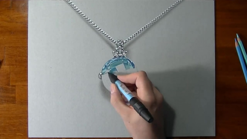 How to draw a 3D aquamarine necklace