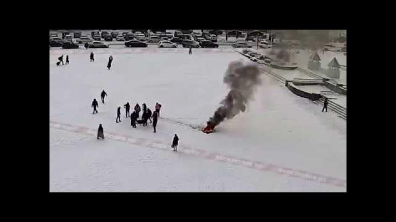 Акт самосожжения на площади перед администрацией г. Ишимбай, Башкирия 15.01.2018
