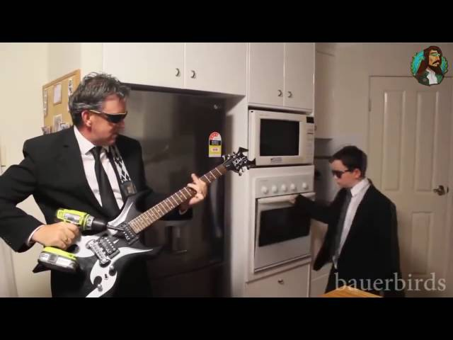 When mom is not home! Son and Dad band