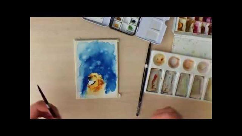 Картина акварелью Год собаки! Spead painting.