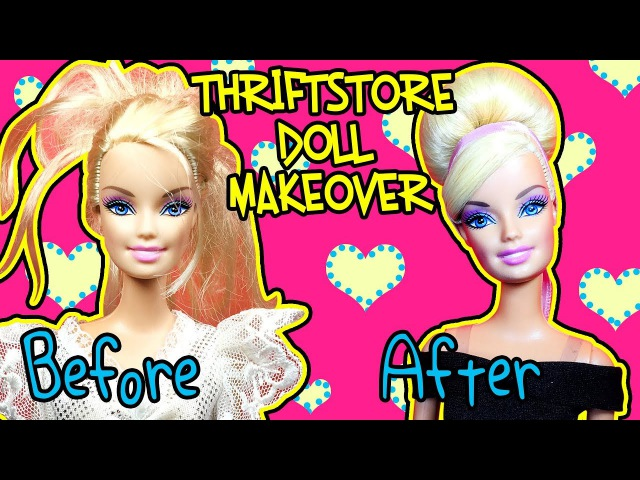 Thriftstore Barbie Makeover - How to Fix Sticky Doll Hair - DIY Doll Hairstyles
