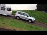 test Subaru Forester CVT automaat + X-Mode met caravan erachter heuvel af
