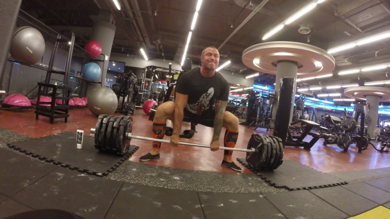 Deadlift 230kg/507lb 3 reps 4 sets with support Bear gear