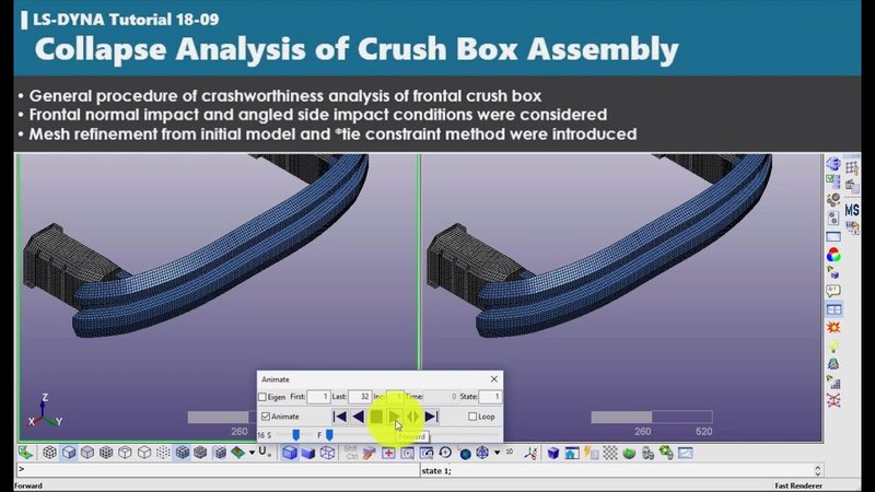 LS-DYNA tutorial | Collapse Analysis of Crush Box Assembly | 1809