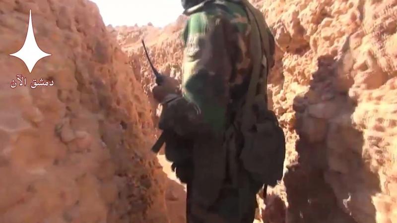 Экскурсия по взятым позициям боевиков запрещенной в России организации Исламского Государства на востоке провинции Хама.